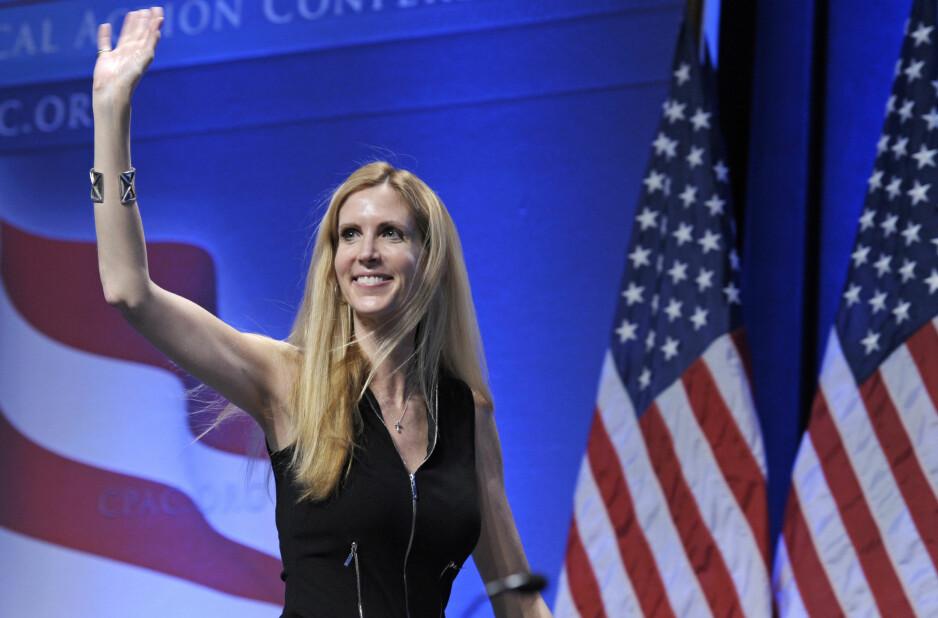 SPØKTE MED «BJORN FRA NORGE»: Ann Coulter - en kommentator med synspunkter langt ute på høyresiden. Foto: AP Photo/Cliff Owen/NTB Scanpix