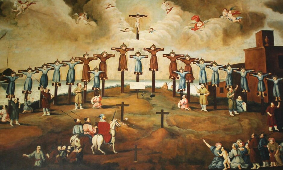 De første martyrene: Henrettelsen av 26 kristne i Nagasaki ble begynnelsen på 250 år med forfølgelse av kristendommen i Japan. Maleri fra St. Paulskirken i Macao