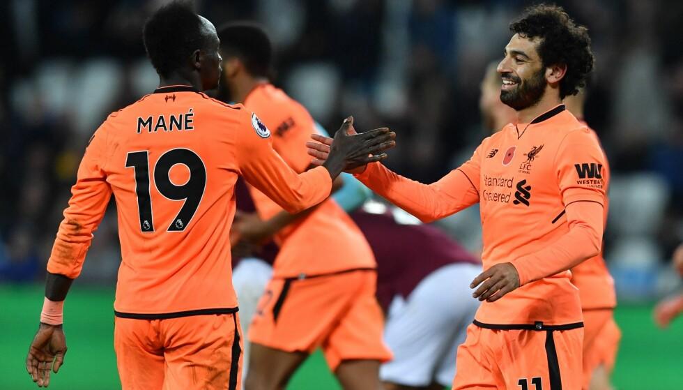 HERJET: Endelig var Sadio Mané tilbake fra skadet. Sammen med toppscorer Mohamed Salah hejet duoen med West Ham. Foto: NTB Scanpix