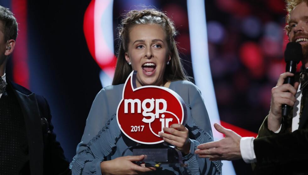 VANT: et ble 14 år gamle Oselie Henden fra Nordfjordeid som lørdag kveld vant musikkonkurransen MGPjr 2017. Foto: Cornelius Poppe / NTB scanpix