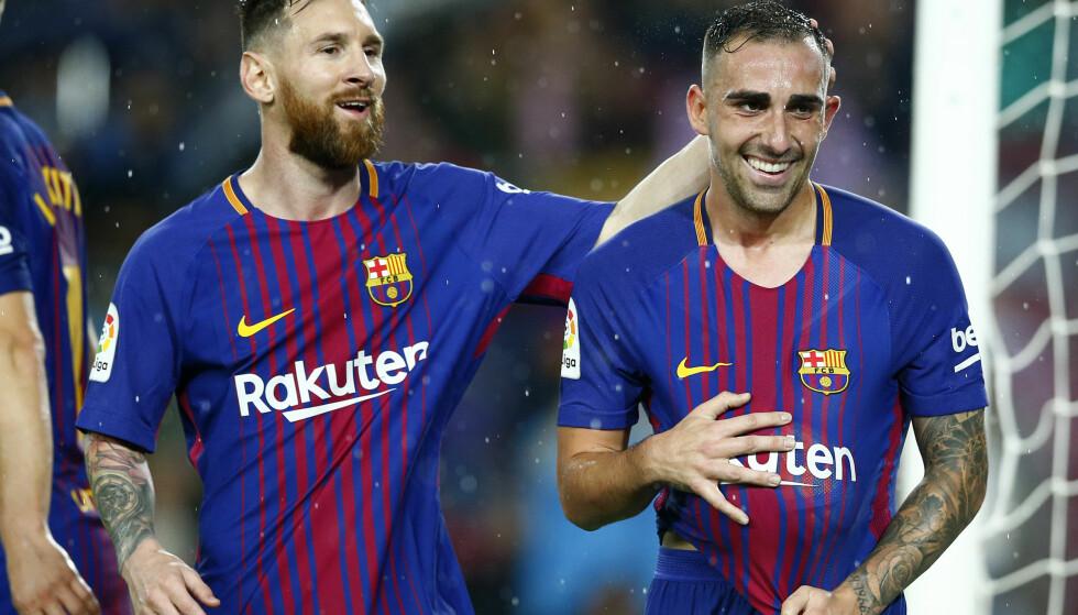 HELT: Paco Alcacer scoret begge målene da Barcelona slo Sevilla 2-1 i La Liga lørdag. Foto: AP Photo/Manu Fernandez / NTB scanpix.