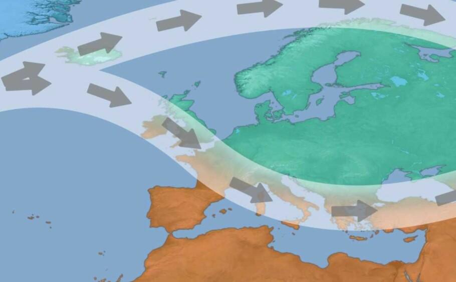 AVGJØRENDE: SVTs sesongprognose tar utgangspunkt i at den nordlige polare jetstrømmen deler seg i to. Det innebærer at varm atlanterhavsluft beveger seg inn mot det nordlige Skandinavia. Grafikk: SVT/Nitzan Cohen
