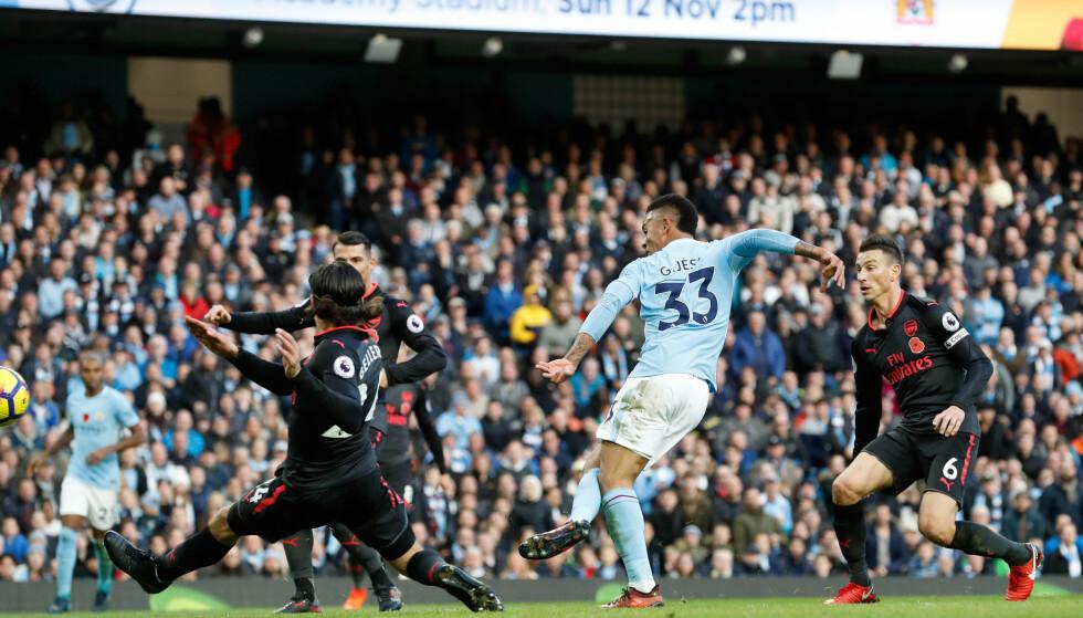 GOD TID: Gabriel Jesus fikk stå upresset på seks meter og lure inn 3-1 til Manchester City. Foto: NTB Scanpix