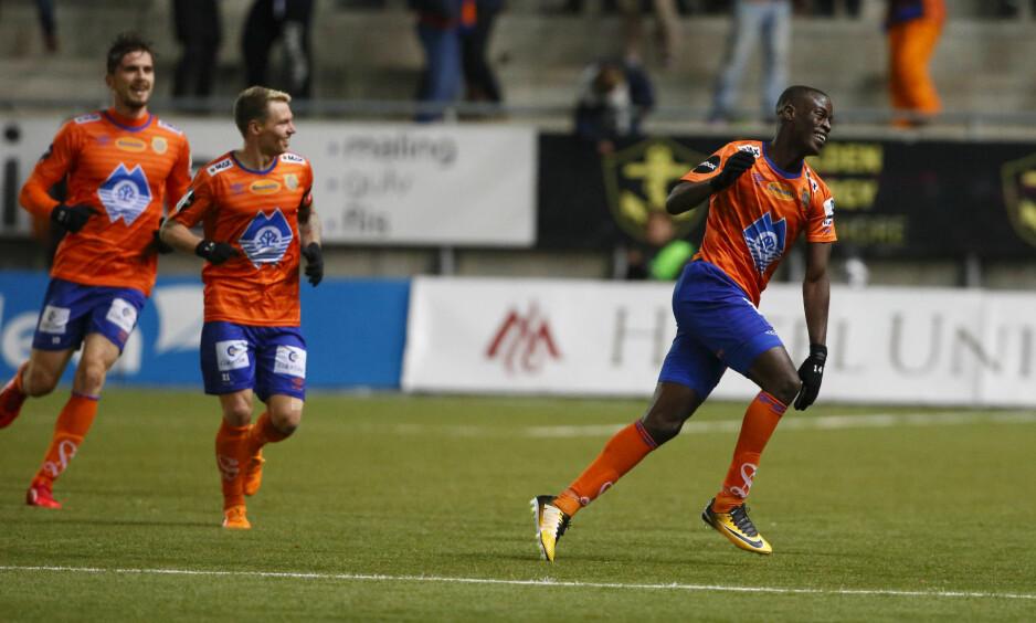 MATCHVINNER: Edwin Gyasi sørget for Aalesund-seier mot seriemester Rosenborg. Foto: Svein Ove Ekornesvåg / NTB scanpix