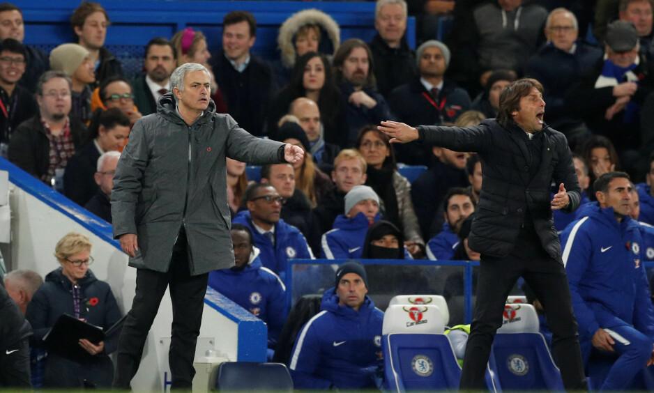IKKE PERLEVENNER: Antonio Conte ville ikke ta José Mourinho i hånda etter helgas kamp mellom Manchester United og Chelsea. Foto: Reuters/John Sibley/NTB Scanpix