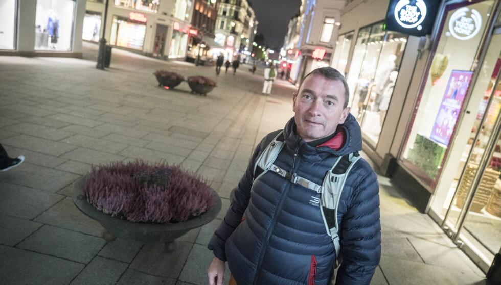 FOTGJENGER: Tor Ove Stenseng håper å se flere sikringselementer på Karl Johans gate. Foto: Øistein Norum Monsen / Dagbladet