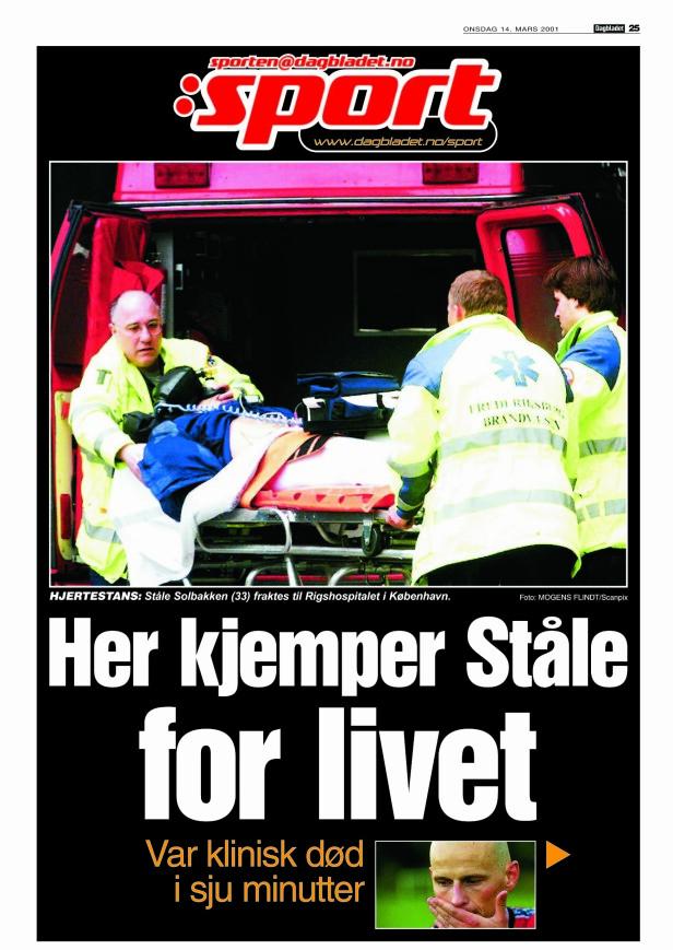 Faksimile av Dagbladet 14. mars 2001 - dagen etter Ståle Solbakken fikk hjertestans.