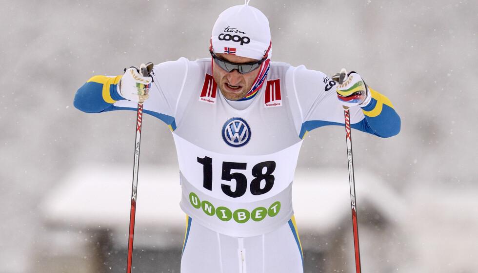 BLÅGUL: Petter Northug stiller i blågul drakt i Bruksvallarna. Her under samme løp i 2015. Foto: ULF PALM / TT / NTB scanpix