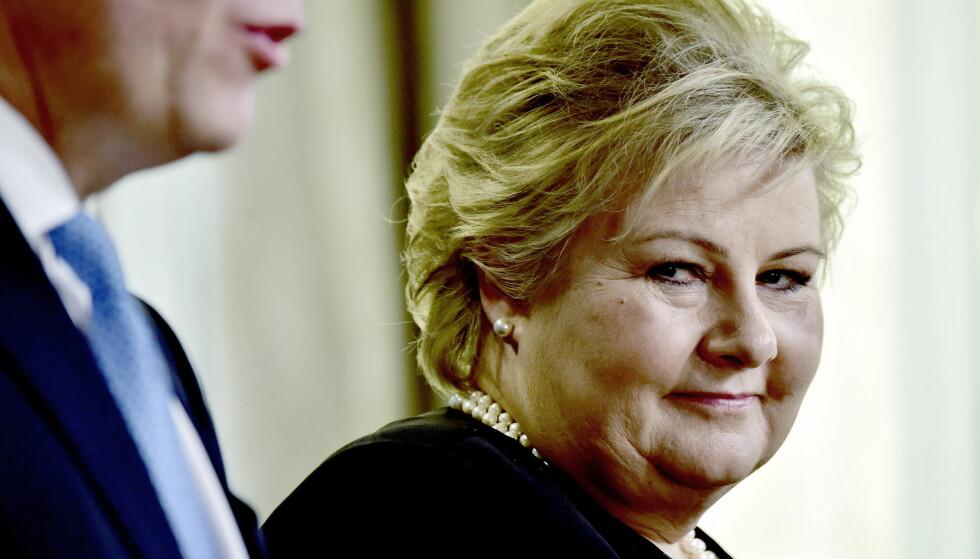 KAN SMILE: Erna Solbergs Høyre er landets klart største parti, ifølge DNs partibarometer. Foto : Lars Eivind Bones / Dagbladet