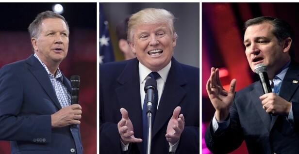 MØTES IGJEN?: Skal man tro ekspertene så er det ikke umulig at denne trioen, John Kasich, Donald Trump og Ted Cruz møtes i en ny kamp om presidentembetet. Foto: AFP / NTB Scanpix