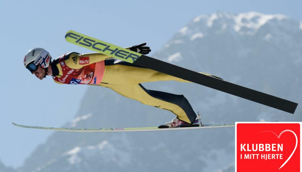 PAPPA OG ELDSTEMANN: Andreas Stjernen håper å fly langt også denne sesongen. Som nybakt far har skihopperen fått et nytt perspektiv på livet. Foto: AFP PHOTO / Jure Makovec