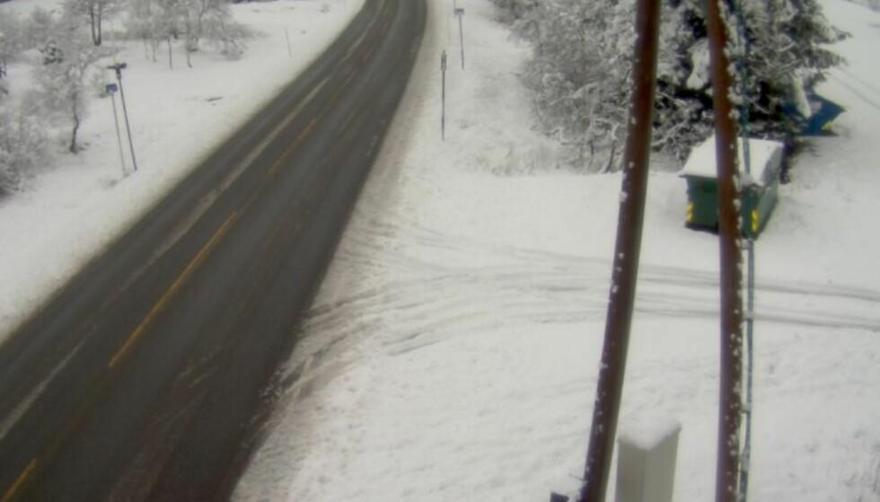 SNØ: Dette bildet ble tatt ved Kvamskopen i Hordaland fredag klokka 12:38. Foto: Statens Vegvesen