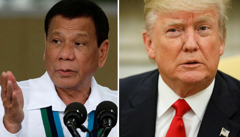 SKAL MØTES: Rodrigo Duterte og Donald Trump skal møtes i Manila søndag. Foto: NTB Scanpix