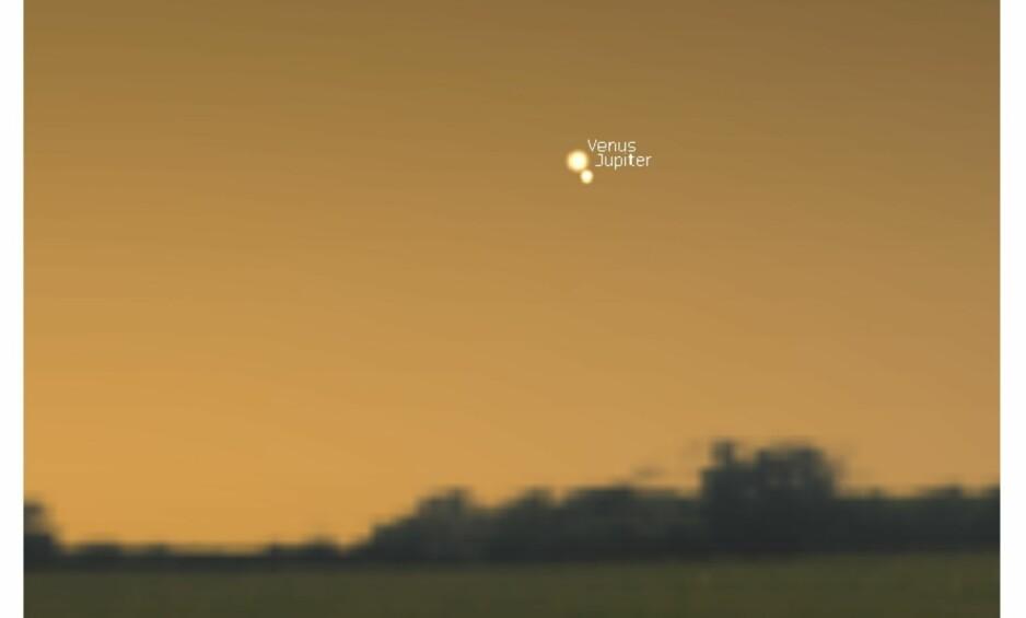 OMTRENT SLIK: Bildet er skjermdump fra planetarieprogrammet Stellarium, som er gratisprogramvare. Hvert planetmøte har noe likhet, men ikke 100 prosent. Her har man laget et bilde av slik man tror det vil se ut. Foto: Stellarium