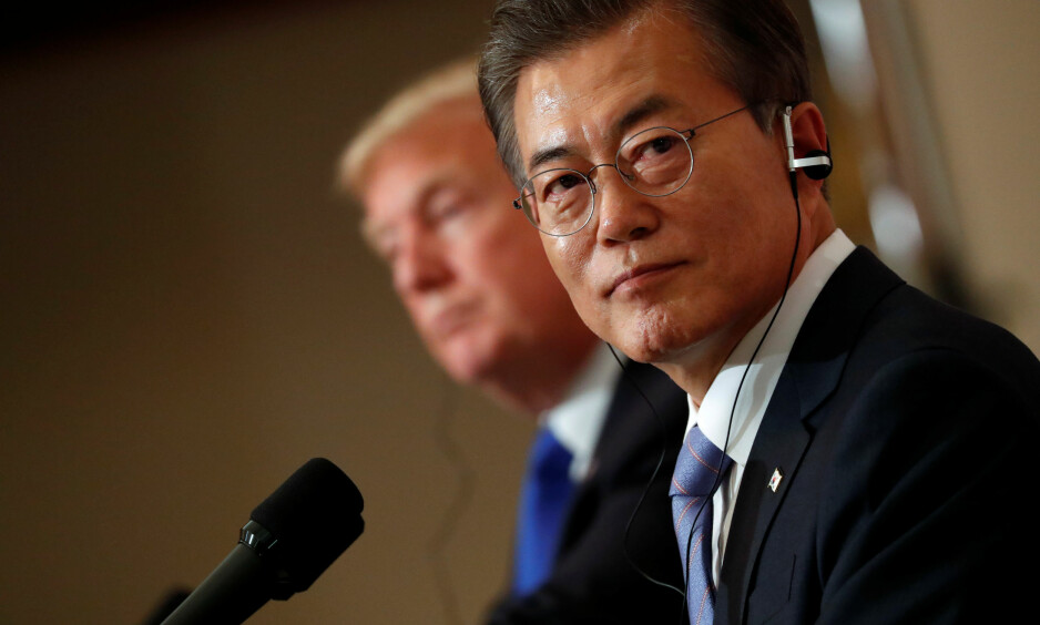 TRAFF TRUMP: Sør-Koreas president Moon Jae-in. Foto: REUTERS/Jonathan Ernst/NTB Scanpix
