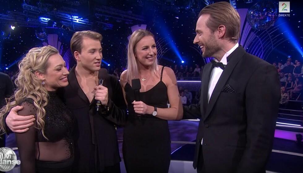 KJÆRESTE: Grunde Myhrer viste fram kjæresten Vilde Bjørnsen for første gang. Foto: Skjermdump / TV 2