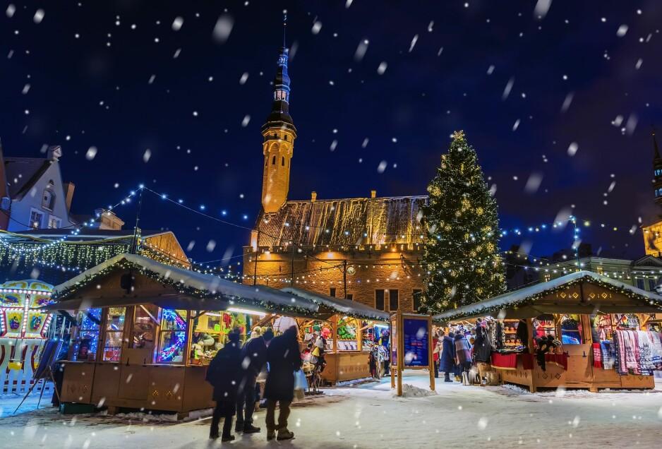 ET JULEPARADIS: Rådhusplassen i Tallinn er et fantastisk skue for juleelskere. Foto: NTB Scanpix