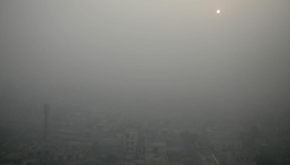 MORGENSOL: Man kan så vidt skimte morgensola over New Delhi, gjennom det tjukke laget av forurensing som har lagt seg over byen. Foto: AP Photo/Altaf Qadri, File