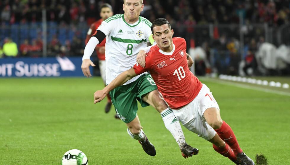 Klar for VM: Sveits er klar for VM etter å ha slått ut Nord-Irland over to kamper. Foto: Georgios Kefalas / Keystone via AP / NTB Scanpix