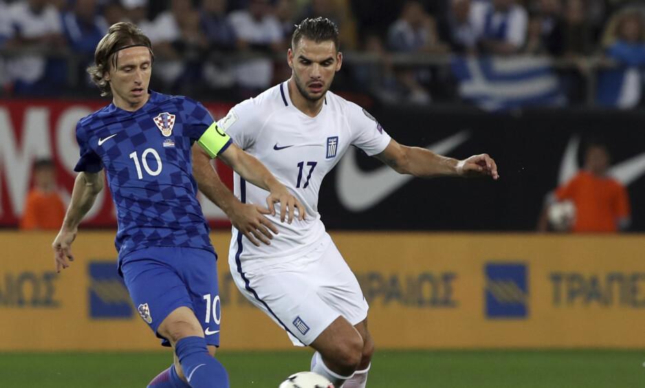 Klar for VM: Kroatia og Luka Modric ble i kveld klar for VM etter å ha spilt uavgjort mot Hellas. Foto: Yorgos Karahalis / AP Photo/ NTB Scanpix