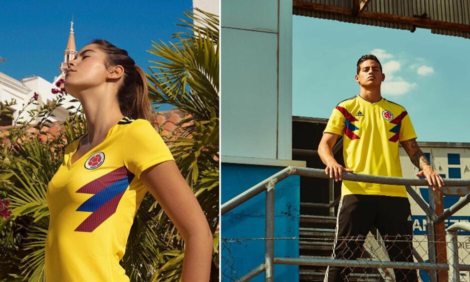 EN SPILLER OG EN MODELL: Det var stor forskjell på hvem som fikk fronte den nye draktlanseringen til Colombia. Til venstre er tidligere Miss Colombia Paulina Vega Dieppa. Til høre den utlånte Bayern München-spilleren James Rodriguez. Foto: Adidas