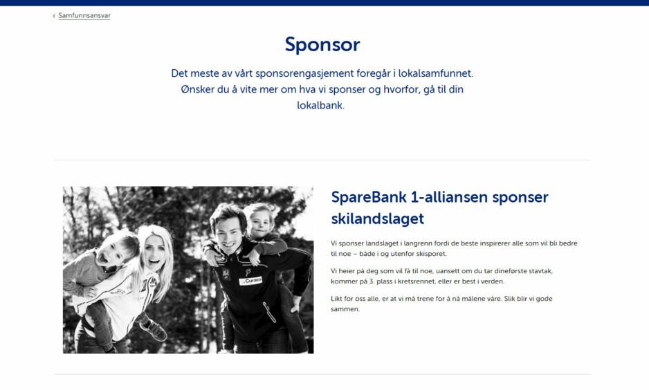 GLEMTE Å BYTTE: Therese Johaug har prydet nettsiden til langrennslandslagets hovedsponsor helt fram til i dag. Skjermdump: Sparebank 1
