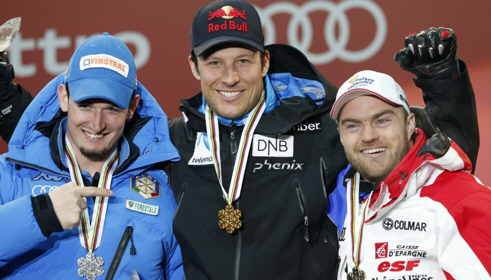 DØD: Alpinisten David Poisson (til høyre) omkom i en treningsulykke i Canada. Her med Aksel Lund Svindal. Foto: Cornelius Poppe / NTB scanpix