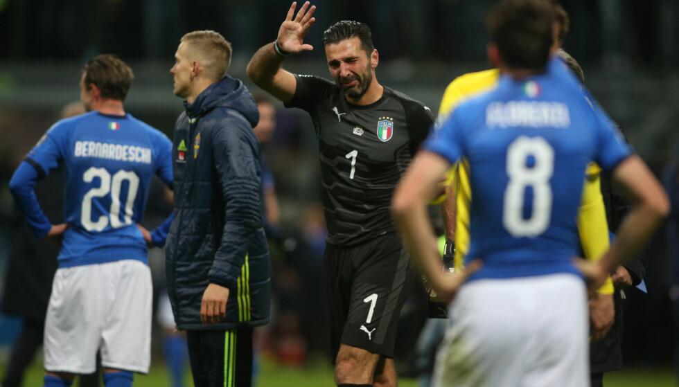 FØLELSESLADD: Gianluigi Buffon bekreftet etter tapet mot Sverige at han gir seg med landslagsfotball. Foto: Marco Iacobucci/REX/Shutterstock