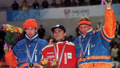 20 ÅR: I 1998 vant Ådne Søndreål OL-gull på 1500 meter foran Ids Postma og Rintje Ritsma. 20 år senere har Norge endelig gullkandidater på vei opp igjen før Pyeongchang-OL. Scan-Foto: Tor Richardsen