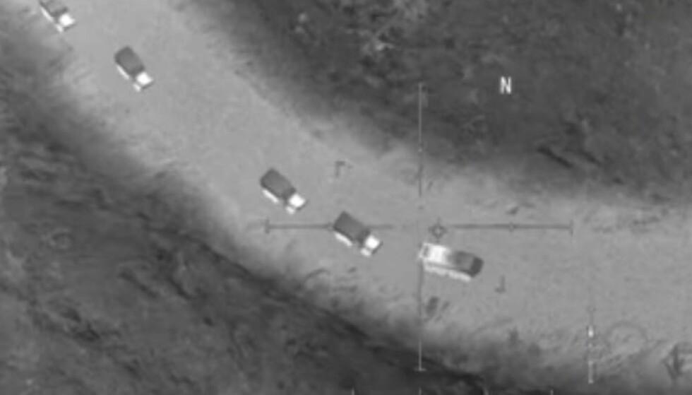 MOBILSPILL: Det russiske forsvarsdepartementet hevdet dette bildet viste at amerikanerne støttet IS i Syria. Problemet er bare at bildet er hentet fra et mobilspill. Foto: Russlands forsvarsdepartement på Facebook