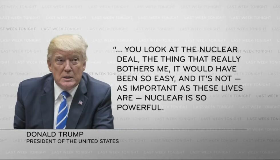 TALE: Her er et utdrag av Donald Trumps tale, vist på «Last Week Tonight». Foto: Faksimile fra YouTube
