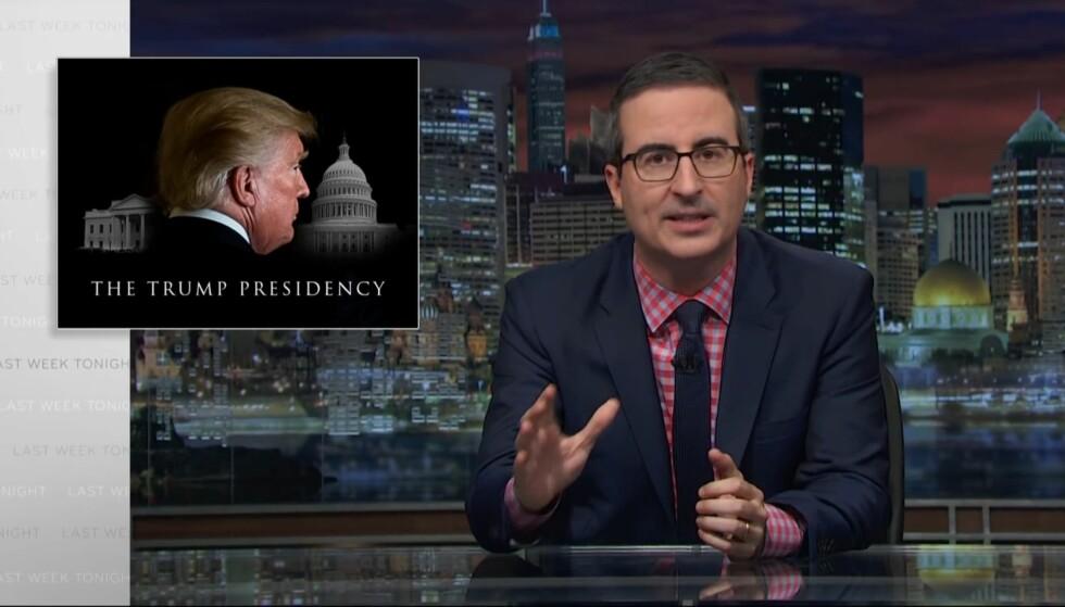 HAMRER LØS: Komiker John Oliver i HBO-programmet «Last Week Tonight» på HBO. Foto: Faksimile fra YouTube
