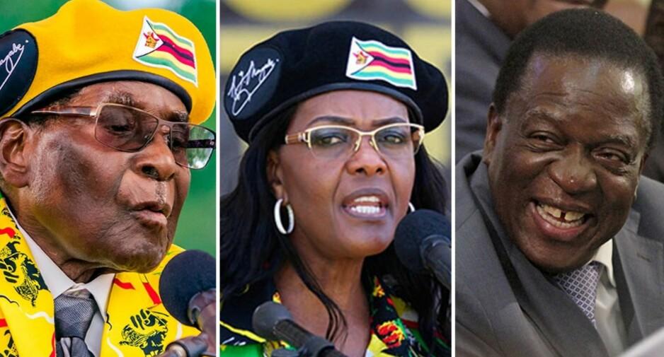 KNALLHARD MAKTKAMP: En knallhard maktkamp innad i Zimbabwes maktelite har trolig ført til at Robert Mugabe (t.v) og kona Grace ble pågrepet. Emmerson Mnangagwa antas å være en hovedmann bak dagens hendelser. Foto: AFP PHOTO / Jekesai NJIKIZANA / AFP PHOTO / ZINYANGE AUNTONY / REUTERS/Philimon Bulawayo