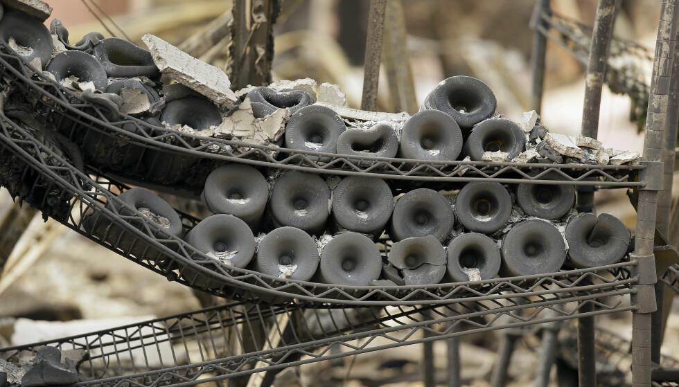 TOTALSKADD: Vinprodusenten Signorello Estate i Napa Valley brant ned til grunnen. Foto: AP/NTB Scanpix