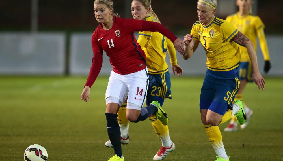 ¨NY AVTALE: Sveriges fotballkvinner er blitt enige med forbundet om en landslagsavtale som strekker seg ut 2020. Dermed blir det ingen boikott av Fotbollsgalan.  Foto: Håkon Mosvold Larsen / NTB scanpix