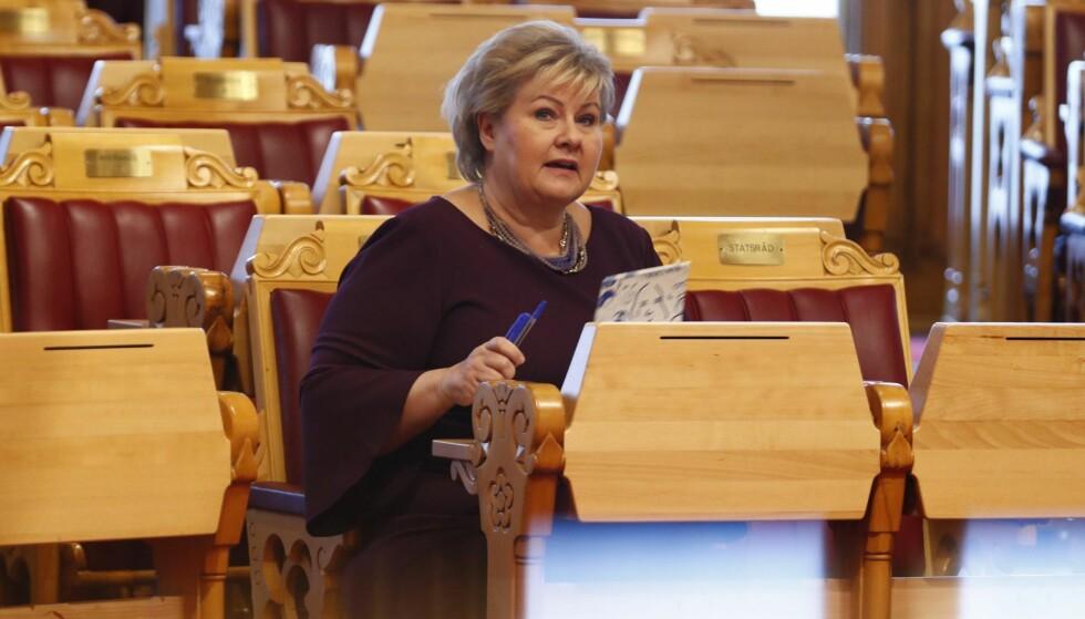 KUTTER RETTSHJELP: Statsminister Erna Solberg. Foto: NTB Scanpix
