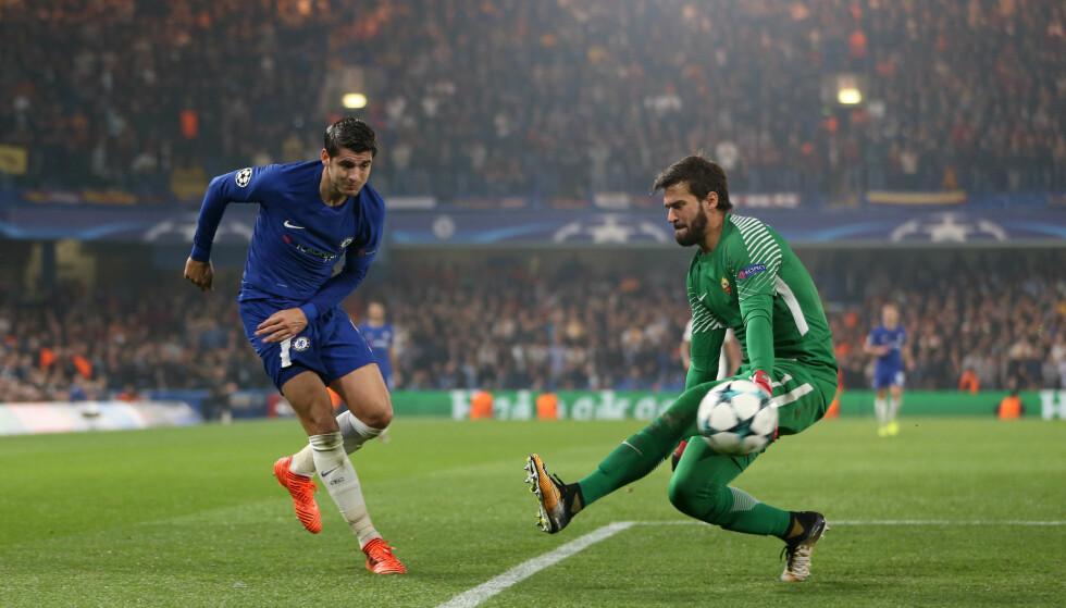 SMART: Alvaro Morata scorer mot Roma i Champions League. Foto: Jed Leicester/BPI/REX/Shutterstock/NTB Scanpix