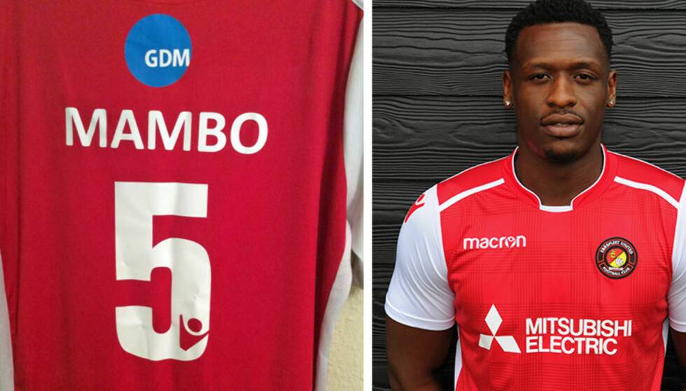 NÅ FÅR HAN LÅNE NUMMER FEM: Yado Mambo har denne uka fått internasjonal oppmerksomhet. Nå selger klubben en eksklusiv drakt med nummer fem på ryggen. Foto: Ebbsfleet United