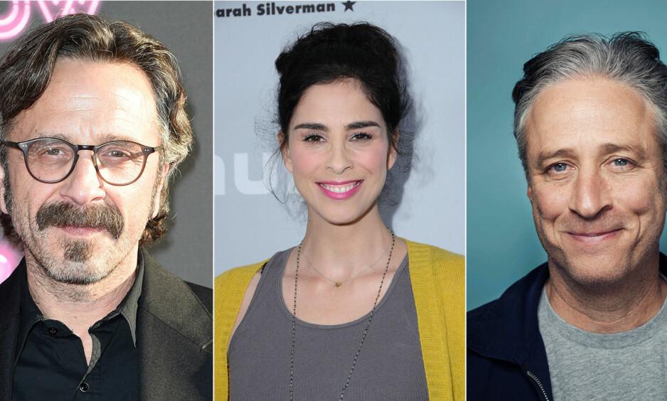 TAR AVSTAND: Marc Maron, Sarah Silverman og Jon Stewart er alle store komikere i USA. Nå lufter de sine tanker om Louis C.K. og sextrakasseringen han har bedrevet. Foto: NTB scanpix