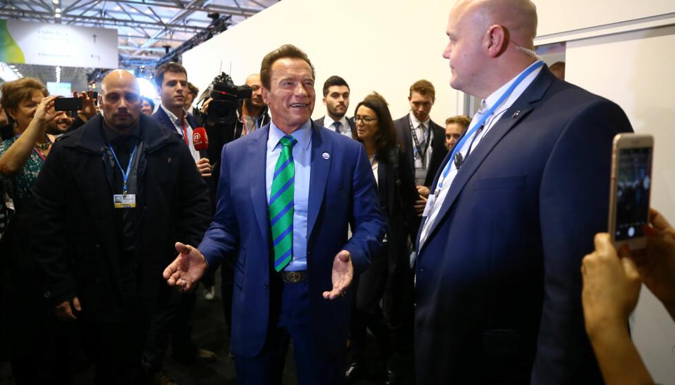 USA I BONN: En stor delegasjon fra USA var tilstede på Klimatoppmøtet i Bonn, for å vise at USA er mer enn Donald Trump. Blant dem skuespiller og tidligere guvernør i California, Arnold Schwarzenegger. Foto: REUTERS/Wolfgang Rattay