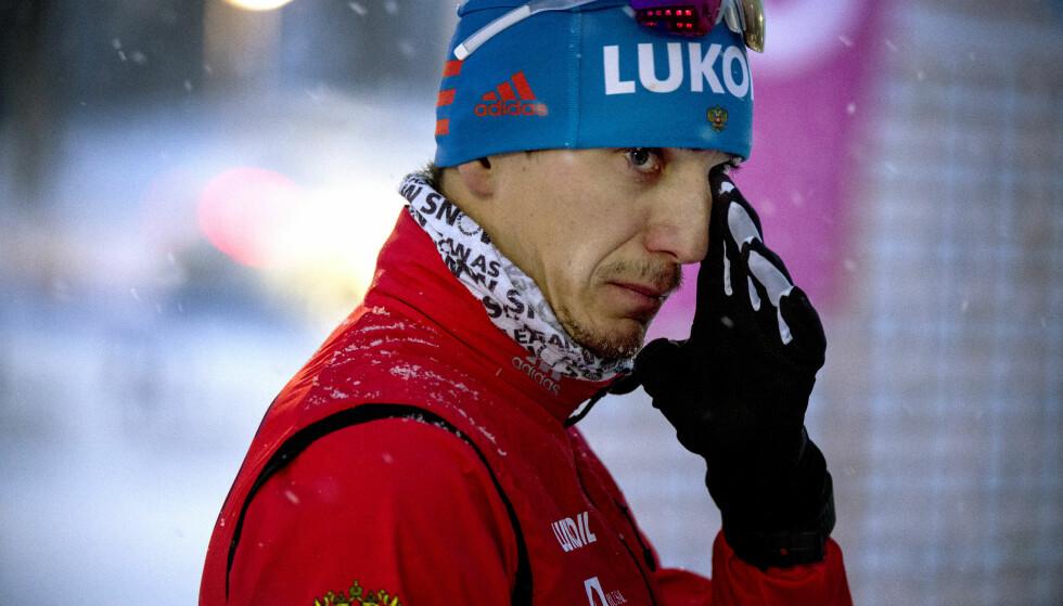 TIL TOPPS: Jevgenij Belov, russeren som for noen uker siden ble utestengt fra OL på livstid, gikk i dag til topps på 10-kilometeren i Gällivare. Foto: NTB Scanpix