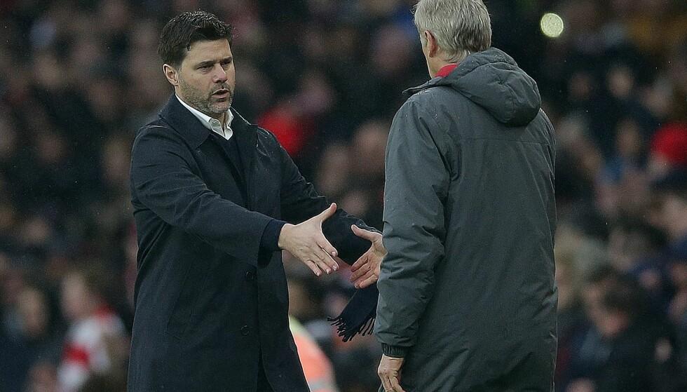 SLO TILBAKE: Arsene Wenger (t.h.) har stort sett kunnet juble når han møter Tottenham, men de siste årene har Mauricio Pochettinos lag tatt gradvis igjen forspranget. I dag var imidlertid Arsenal best igjen. Foto: David Klein / Reuters / NTB Scanpix