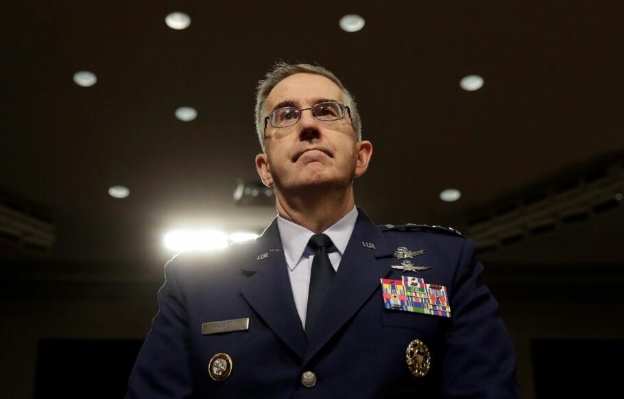 Setter ned foten: General John Hyten kontrollerer USAs atomvåpen. Han sier han vil motsette seg enhver «ulovlig» ordre fra presidenten om bruk av kjernefysiske våpen. Foto: Yuri Gripas / Reuters / NTB Scanpix