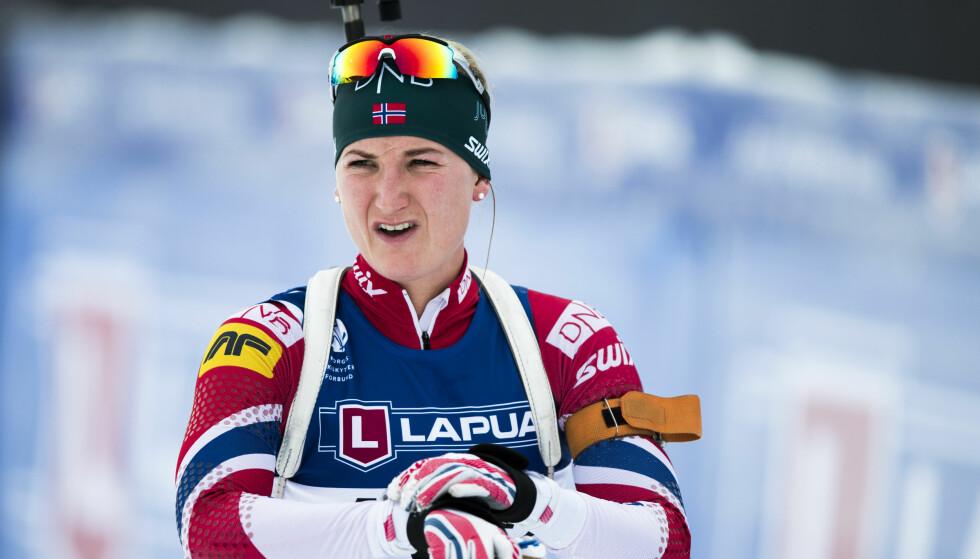 SEIER: Marte Olsbu vant fellesstarten på Sjusjøen søndag. Foto: Berit Roald / NTB scanpix
