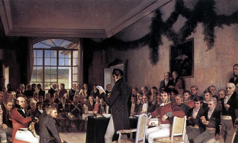 UTVIKLING: Hva hadde skjedd med eidsvollsmennene hvis de hadde blitt fortalt at yrker som veversker og tømmerfløtere ville forsvinne? Det hadde klikka for dem, selvsagt. Illustrasjon: «Eidsvold 1814» av Oscar Wergeland