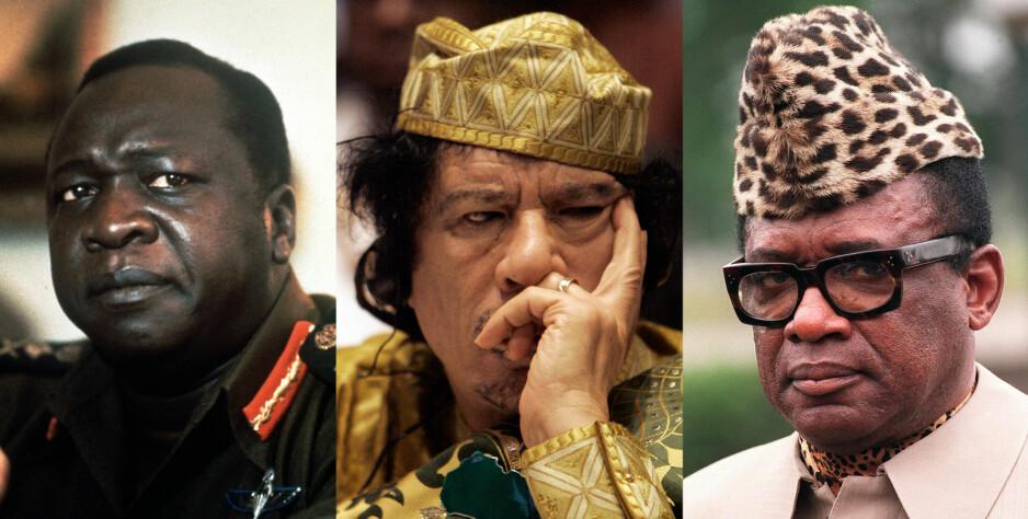 BRUTALE: Ugandas Idi Amin, Libyas Muammar Kadhafi og Zaires (Kongo) Mobutu Sese Seko var alle brutale diktatorer på det afrikanske kontinentet. De opplevde særdeles ulike skjebner etter å ha blitt fratatt makta. Foto: NTB Scanpix