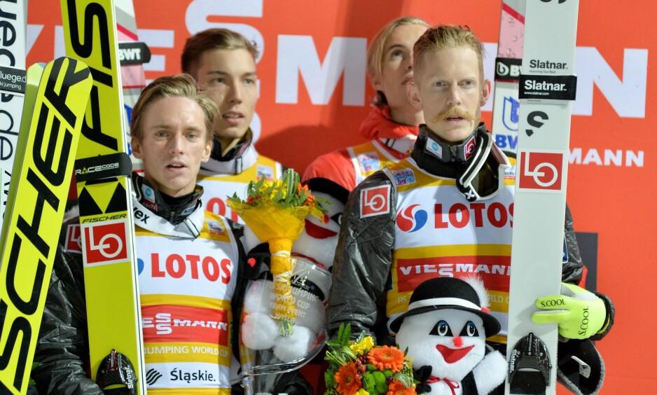 NY SJANSE: De norske gutta vant lagkonkurransen i Wisla. Nå får samme mannskap sjansen igjen til helgens verdenscup i Finland. Foto: NTB Scanpix