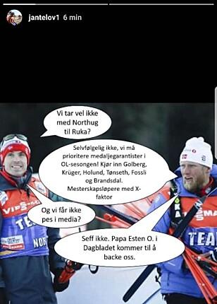 TIL ANGREP: Petter Northug kommer med stikk til trenere, lagkamerater og Esten O. Sæther mandag kveld. Foto: Instagram / Jantelov1