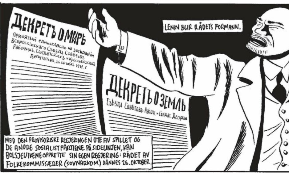 VLADIMIR ILITSJ LENIN spiller hovedrollen i Kristian Krohg Sørensens nye tegneserieroman, om den russiske revolusjonen.