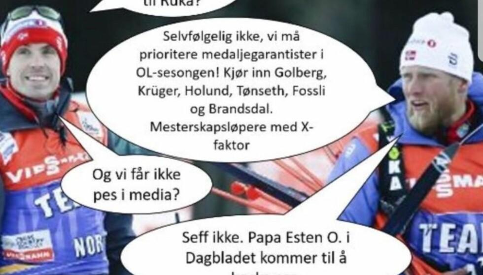 TRØNDERHUMOR: Med eller uten hjelp Petter Northug artig bak dataskjermen på gutterommet, men det morsomte for norsk langrenn er om han klarer å heie også på lagkameratene. FOTO: Skjermdump: Petter Northugs Instagram-konto